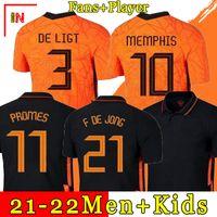 Hollanda 2021 2022 Hollanda Futbol Jersey de Jong Wijnaldum Hollanda Futbol Seti Virgil Futbol Forması 21 22 StrooRman Memphis Jersey Erkekler + Çocuklar Suit1