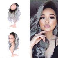Ombre Color Человеческие волосы Precucked 360 Frontal с детскими волосами 1b серебристый серый кузовной волна 360 кружевной полосы лобное закрытие 22,5x4x2