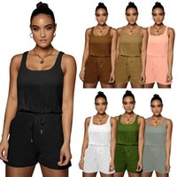 Women tracksuits 2 piece set summer clothes solid color gym t-shirt shorts sportswear pullover sleeveless leggings outfits vest scoop neck tee top bodysuits 01672