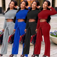 Women's Two Piece Pants Two-piece Suit Of Solid Color Bow High-waisted Wide-leg Trousers Autumn Product Long-sleeved Casual