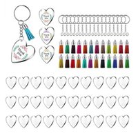 90pcs Acrylic Discs Clear Heart Keychain Blanks Charms and Colourful Tassel Key Rings for Diy Crafts Jewelry Making H0915