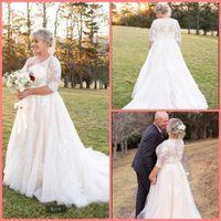 2021 Vestido De Festa white tulle a line wedding dress Half Sleeve Appliqued Lace Bohemian Boho Bridal Gowns plus size long muslim women vintage bride dresses