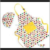 مريحة وجميلة المطبخ المطبخ 8 ألوان الاطفال مآزر مع قبعات hef للرسم الطبخ الخبز 2x3rv abcop