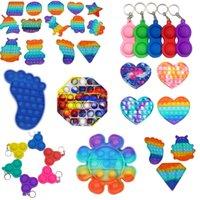 Rainbow Push Pop Il est favorable à Fidget Jouet Toy-teinture Couleur Sensory Bubble Autisme Besoins Spéciales Anxiety Stress Stress Stripe Scientif