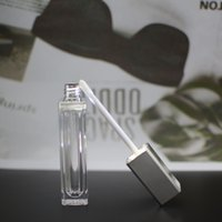 7ml Empty Square Lip Gloss Tube Plastic Lids Clear Lipstick Balm Bottle Container with brush Silver Cover LED Light Mirror