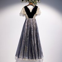 Vintage Evening Dress Navy Blue Velvet with Tulle Gold Applique Ruffles Sleeves Prom Gowns
