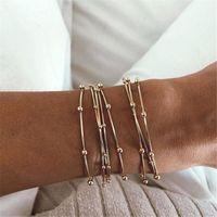 Bohemia Gold Couleur Metal Beads Bangles Set pour Femmes 70mm Large Big cercle Bracelet Bracelet Pulseras Para Mujer