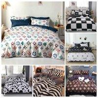 Conjuntos de cama 2/3 PCS Luxuoso Marca Duveta Cobertura Set Preto e Branco Twin / Queen / King Size Grade Comforter