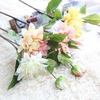 الزهور الزهور أكاليل 6 قطع dahlia محاكاة الحرير فرع واحدة فرع نباتات وهمية اصطناعية لحفل زخرفة المنزل