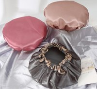 Sombrero de baño con sombrero de baño gorras de ducha camisón sólido para mujer cuidado de cabello satinado duerma belleza belleza elástico baño gorra fwe5892