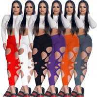 Women Pants Capris summer fall clothes sexy club hollow out leggings solid color full-length pantss ankle length sportswear yoga cycling wear running fitness 01639
