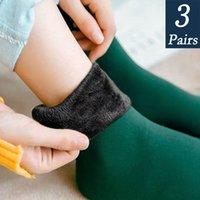 3 Pairs Women's Winter Warm Thicken Thermal Nylon Cashmere Solid Color Socks Soft Snow Velvet Boots Floor Sleep Black