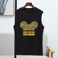 Women's T-Shirt Print Gold Letter Leapord Mouse Tops For Women Summer 2021 Sleeveless 8 Colors Graphic T Shirts Woman Streetwear Ladies