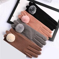 Five Fingers Gloves Female Winter Plus Velvet Thickened Warm Wool Driving Korean Cute Rex Fur Ball Touch Screen Student Cycling
