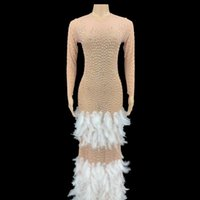 Sparkly Rhinestone Feather Long Dress Women Elegant Evening Wedding Celebrate Prom Party Birthday Singer Stage Wear Casual Dresses