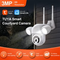 Cameras 3MP Tuya Smart Wifi PTZ IP Camera 1080P HD Outdoor Wireless Human Detector Home Security IR Night Vision CMOS With LED Lights