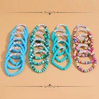 Bangle Dvacaman Multicolor Bohemian Handmade Soft Pottery Elastic Bracelet For Women Fashion Letter Beads Summer Beach Jewelry