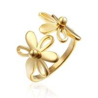 Anéis de casamento de aço inoxidável forma de girassol anel personalidade festa de dança de festa de festa de jóias do dia dos namorados