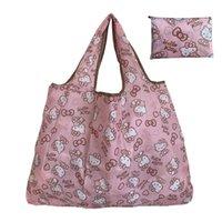 Katlanabilir Yeniden Kullanılabilir Alışveriş Çantası Kadın Seyahat Omuz Bakkal Çanta Çanta Çanta Alışveriş El Hayvan S XL 50 LB Sevimli Hediye Makinesi Yıkanabilir L