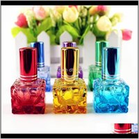 Jars Storage Housekeeping Organization Home & Garden Drop Delivery 2021 10Pcs Lot 10Ml Colorful Square Glass Per Bottle Refillable Sample Por