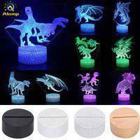 Multi-Stilen LED-Basis-Tisch-Nachtlicht 3D-Illusionslampe Dinosaurier 4mm-Acryl-Leuchten-Panel RGB mit Fernbedienung