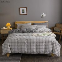 Bedding Sets Gray Plaid Quilt Cover Set Bed Sheets Button Decorate Japan Style Linen Duvet Pillowcase
