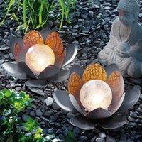 Solar Lamps 2pcs Artificial Led Optic Fibre Waterproof Fake Pond Flowers Light Lotus Leaf Lily Color Change Wedding Decoration #G2