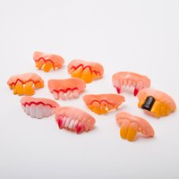 Fake Teeth Halloween Party Prank Toys Simulation Rotten Zombie Yellow Tooth Funny Tricky False Vampire Denture Masquerade Cosplay Trick Props Spoof Toy Joke DHL