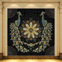 Custom 3D Mural European Style Luxury Black Gold Gem Peacock Living Room Bedroom Home Decor Self Adhesive Wallpaper Waterproof Wallpapers