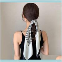 أدوات السلالات essorieslady متعددة الأغراض الكورية ربيع الخريف نمط طويل وشاح المهنية مربع الإناث الأزياء الديكور الشعر الفرقة تي