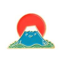 일본어 에나멜 바다 브로치 만화 웨이브 후지산 디자인 핀 스커트 옷깃 배낭 데님 브로치 중립 합금 배지 액세서리 946 T2