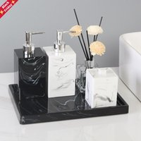 Marble Texture Resin Cotton Swab Box With Lid Bathroom Accessories Set Dispenser Toothbrush Holder Soap Dish Storage Tray Bath Accessory