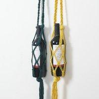 Ganchos Rails Macrame Botella de vino Soporte Boho Bolsa de almacenamiento para botellas colgantes Retal de bolsillo de red de cuerda tejida