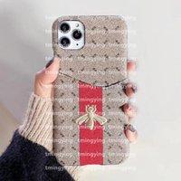Concepteurs de luxe Cas de téléphone pour iPhone 12 Mini 11 Pro Max XS XR x 8 7 Plus Samsung S20 S21 Remarque 20 Titulaire de la carte de boîtier Slot Cover Cover Shell