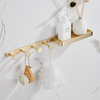 Robe Hooks Brush Gold Brass Wall Hook Shelf 4 Hanger Towel Bathroom Accessories Decorative Coat Door Bath Accessory Set