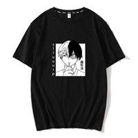TODOROKI Shoto Benim Kahraman Academia T-Shirt Erkekler için Boku Hiçbir Kahraman Akademi Üst Japon Anime Pamuk Tee Gömlek Kısa Kollu T Shirt X0621