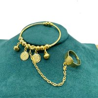 1pcs Copper Arabic Bangles Dubai Bracelets Bangles for baby with Charm Ethiopian African Gold Bracelets&Bangles Bridal
