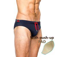 Sexy do homem de natação de natação almofada de natação de nadada de baixa cintura baixa gay briefs swimwear boxers retalhos