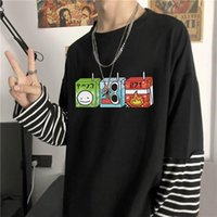 Jugo Cajas Dream SMP Camiseta Mujeres Harajuku Moda coreana Manga larga Tops de gran tamaño Verano Falso Falso Dos piezas Rayas Tshirt Masculino T-shir