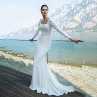 Casual Dresses Elegant Mermaid Square Collar Satin Dress For Wedding Party Long Sleeve Vestido De Novia 2021 Button Princess Bridal Gown