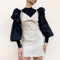 Twotwinstyle Causal Patchwork Ticking Thinting Ruched Femme Pulls Femme O Cou Lanterne Pull à manches longues pour vêtements de mode féminine Nouveau