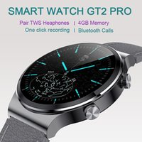 Smart Watch GT2 Pro 4G Memory 300mAh Pair TWS Bluetooth Headphone MP3 Player Call Siri Dial Recording For Android IOS Fitness Tracker Bracelet Smartwatch Men Women
