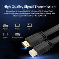 كابلات الصوت موصلات 1.4V عالية السرعة 1.4A فيديو مسطحة كابل HD تلفزيون HD - أسود الكثافة تجديل التدريع، ممتاز مكافحة التدخل