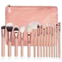 15pcs set Makeup Brush Set with PU Bag Pink Black Professional Nylon Brushes for Powder Foundation Blush Eyeshadow Health Beauty Tools Accessories
