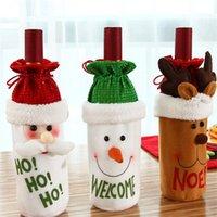 Muñeca de Navidad Conjunto de vino tinto Decoraciones Dibujos animados Muñeco de nieve Bolsa de licor Elk Bebida de seda Botella Botella de bolsillo