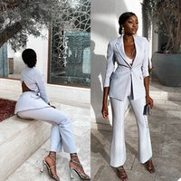 Sexy Mother of the Bride Suits Slim Fit V Neck Hollow Back Office Lady Wide Pants Suit Prom Party Wedding (Jacket+Pants)