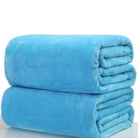 180*200cm Warm Flannel Fleece Blankets Soft Solid Bedspread Plush Winter Summer Throw Blanket for Bed Sofa DH0426