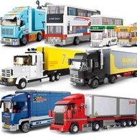 الحافلة المدرسية شاحنة اللبنات المدينة سيارة مركبة أصدقاء عربة شاحنة البضائع فان موديلات السيارات مجموعات البناء اللعب