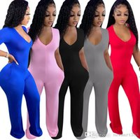 Womens Clothing Designer Jumpsuits Casual Rompers Wide Leg Pants Deep V Short Sleeve Bodysuit Loose Pants Outfits