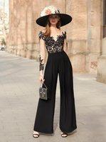 현대 블랙 2021 Jumpsuit 여성 파티 공식 무도회 드레스 깎아 지른 목 레이스 아플리케 섹시한 백 이브닝 가운 바지 정장 가운 드 Marrige
